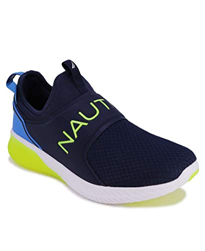Nautica Men's Casual Fashion Sneakers-Walking Shoes-Lightweight Joggers-Coaster-Navy Lime-7.5
