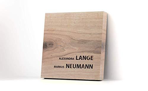 Namensschild aus massivem Eichenholz mit individueller Gravur in verschiedenen Größen, Haustürschild, personalisiertes Holzschild, Türschild