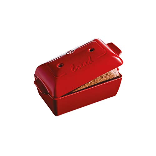 Emile Henry Burgundy Bread Loaf Baker, 11.02 x 5.12 x 4.72in