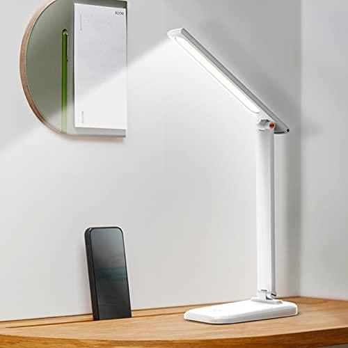Lámpara Escritorio LED 3W Lámparas de Mesa Regulable USB Recargable Plegable de Escritorio Lámpara de Oficina Control Táctil Cuidado Ocular para Estudio Lectura