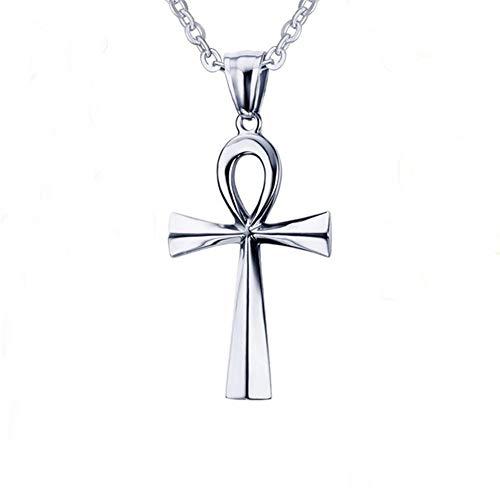 AILUOR Men's Men's Stainless Steel Coptic Ankh Cross Religious Pendant Necklace Silver Adjustable