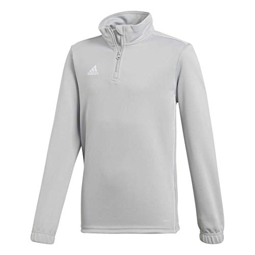 adidas Core18 - Camiseta de fútbol Unisex para jóvenes, Infantil, Color Stone/White, tamaño Small