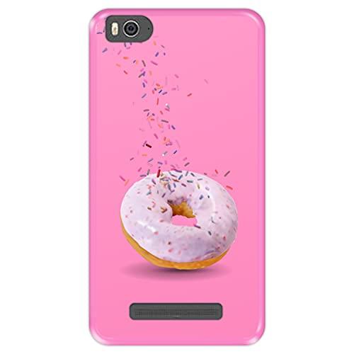 Custodia per [ Xiaomi Mi 4c - Mi 4i ] Disegni [ Ciambella, Sapore di Fragola ] Cover Guscio in Silicone Flessibile Rosa TPU