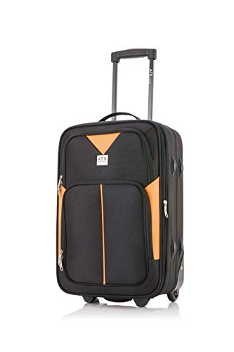 ATX Luggage Ryanair, EasyJet, BA, Jet 2, Super Lightweight Expandable Cabin Approved Trolley 2 Wheeled Bag, FITS Within 55x40x20 and 56x45x25cm Built-in Lock (21' Carry-on, Black/Orange)