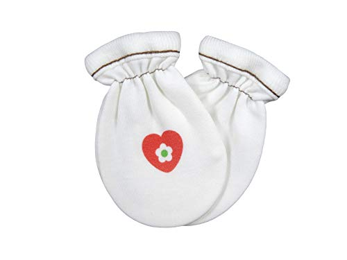 For Babies - Bio-Baumwolle Baby Kratzhandschuhe/Kratzfäustlinge aus 100% organic cotton - Made in EU (Herz)