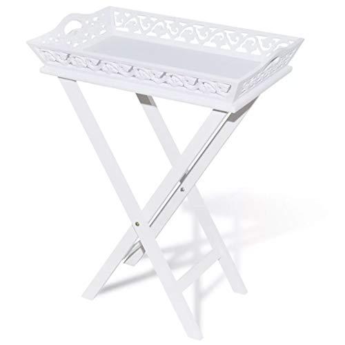 vidaXL Serviertisch mit Tablett Weiß Kaffeetisch Beistelltisch Tabletttisch