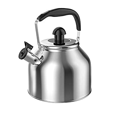 Whistling Tea Kettle Stove Top Teapot, Stainless Steel Teakettle with Fast Boiling Base (3.8Q)