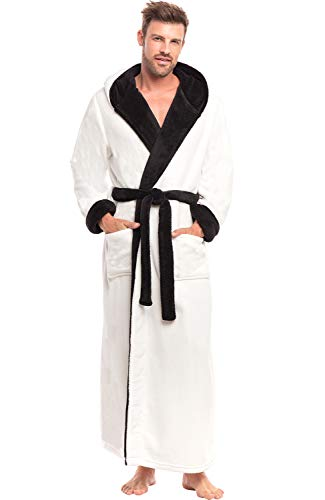 Alexander Del Rossa Men's Warm Fleece Robe with Hood, Big and Tall Bathrobe, Small Medium White with Black Contrast (A0125WTBMD)