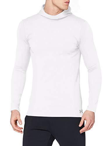 Under Armour Men's Fitted ColdGear Hoodie , White (100)/Steel , Small