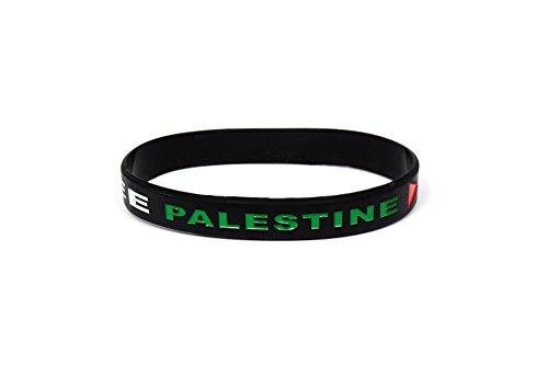 YSN Home Collection Armband Armreif aus Gummi 'Free Palestina' 'Save Gaza' Palästina Gasa - schwarz