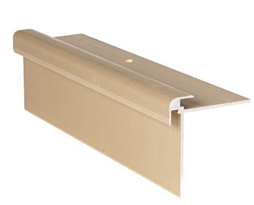 RenoProfil 90 cm Treppenprofil CLASSIC 7 mm für Laminat, Vinyl und Teppich - Treppenkantenprofil für Treppenverkleidung und Treppenrenovierung - Farbe: Messing-Sand