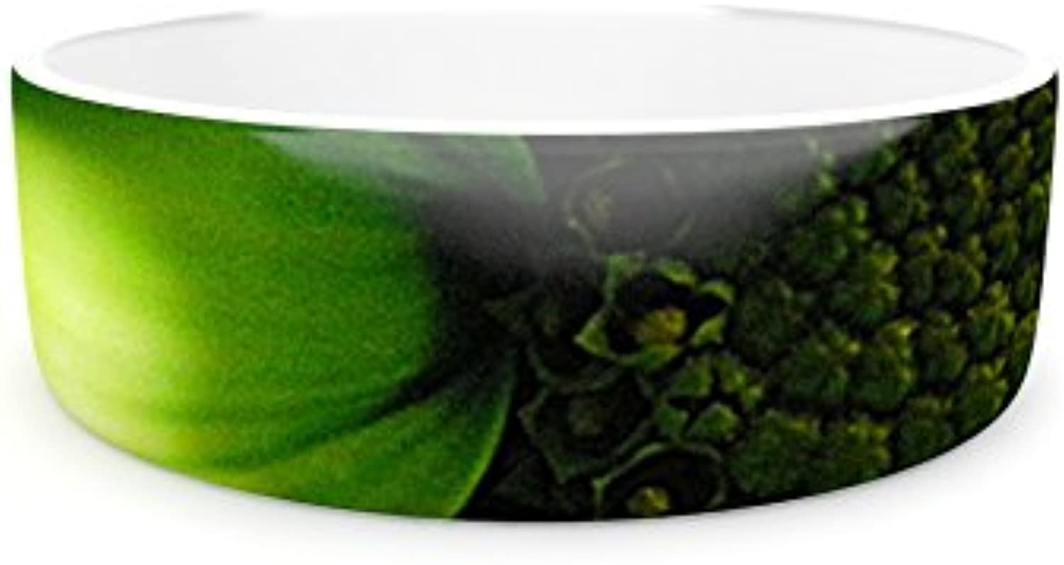 Kess InHouse Robin Dickinson Green Flower  Pet Bowl, 4.75