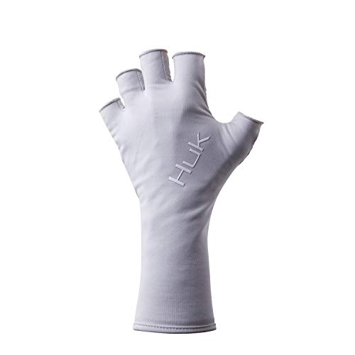 Huk Men's Pursuit Quick-Drying Fingerless Fishing Gloves with UPF 30+ Sun Protection, Glacier, L/XL