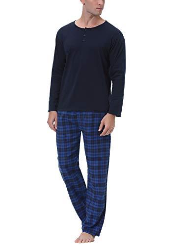 Aibrou Herren Baumwolle Pyjama Set, Winter Warm Langarm Zweiteiliger Schlafanzug, Langarm Shirt mit Kariert Hosen Marineblau M