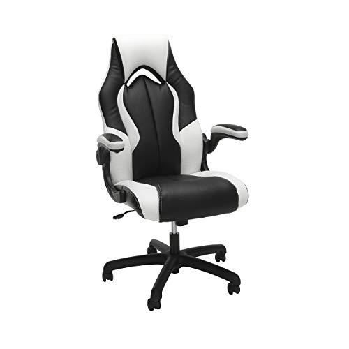 OFM Essentials Collection High-Back Racing Style Bonded Leather Gaming Chair, in White (ESS-3086-WHT) blue chair gaming