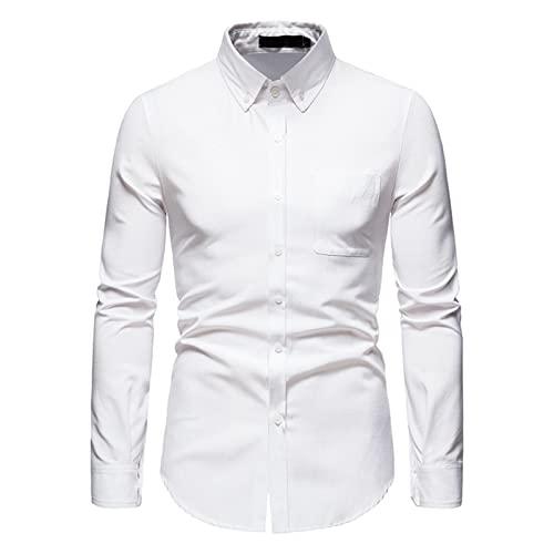 Ocuhiger Camisa De Vestir Clásica A La Moda para Hombre Ajustada Regular Estándar Camisas Formales De Negocios Blusas De Manga Larga con Botones Blusa Bolsillo De Retazos Blanco