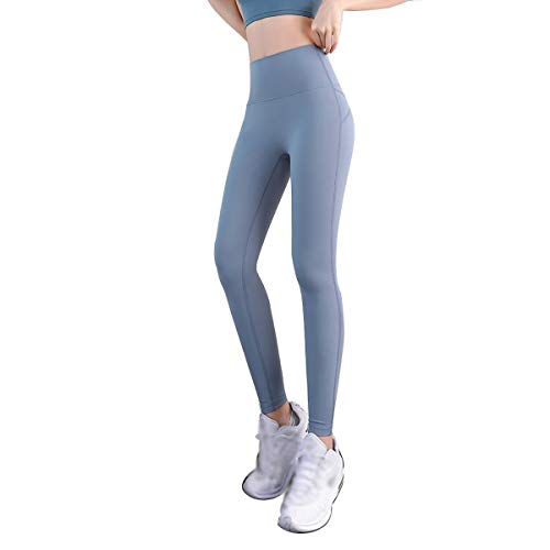 LICHUXIN Fitness-Kompression Yoga-Hosen Frauen Yoga Leggings Weiche elastische hohe Taille Workout Bootleghose für Turnhalle Laufraining (Color : Blue, Size : L)