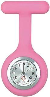 Barir Nurse Pocket Watch Nurse Watch Brooch Silicone With Pin/Clip Glow In Dark Health Care Nurse Nurse Pocket Watch Digital (Color : Pink)