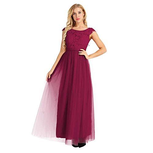 Ropa de Mujer Vestidos Largos para Mujer Cuello Redondo Manga Casquillo Encaje Floral Fiesta de Tul Vestido de Fiesta Vestido de Dama de Honor para Boda-Gray_12, LIFU, Vino rojo