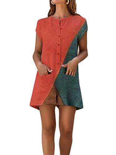 Minetom Jumpsuits Damen Sommer Kurzarm Farbblock Strampler Overall mit Taschen Sommer Vintage Tasten Playsuit Shorts Kurze Hosen Rot DE 36