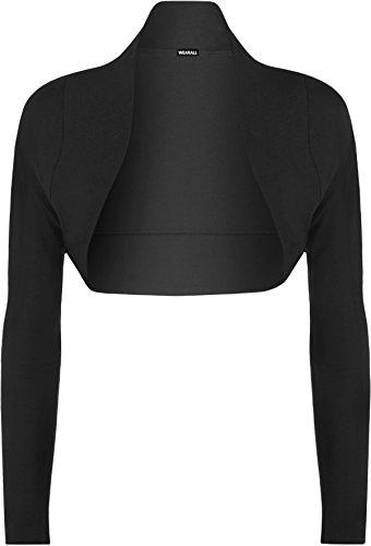 WearAll - Damen Bolero Langarm Top - Schwarz - 36-38