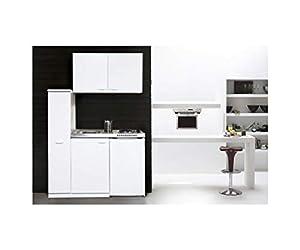respekta MK130WOSC Mini cuisine avec plaque vitrocéramique Blanc 130 x 60 cm