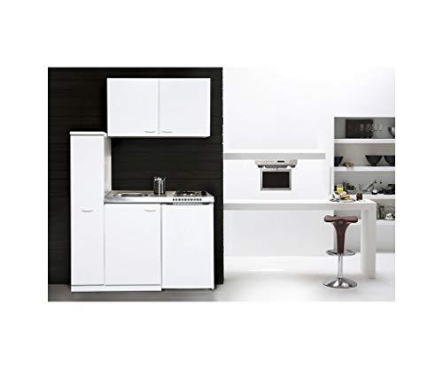 respekta MK130WOSC Miniküche 130 x 60 cm weiß mit Glaskeramikkochfeld