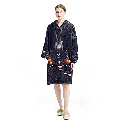 Sudadera con capucha para mujer, de manga larga, suelta, para mujer, casual, suave, chándal para Halloween, escoba, calabaza,, Multicolor 9, L/XXL