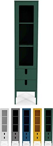 tenzo 8566-031 UNO Designer Vitrine 1 Porte, 2 tiroirs, Vert, MDF Particules ép. 19 et 16 mm Panneau arrière laqué. Poignées en matière Plastique, 178 x 40 x 40 cm (HxLxP)