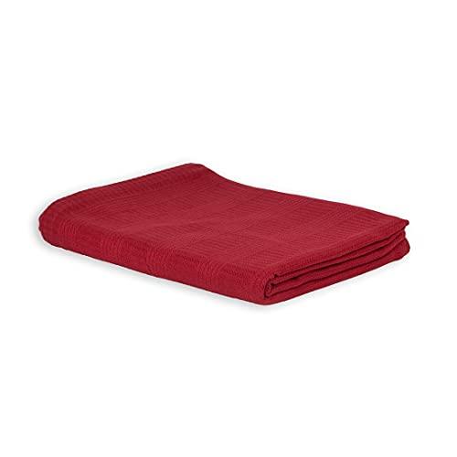 LANGDHUUS Colcha Original de Piqué | 100% algodón orgánico | Manta de Verano | Manta de sofá | Colcha de Cama (Burdeos, 150 x 220 cm)