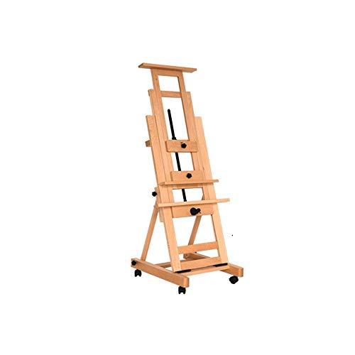 Tokyia Caballete con una sola mano individual mecedora de madera con ruedas de visualización de...