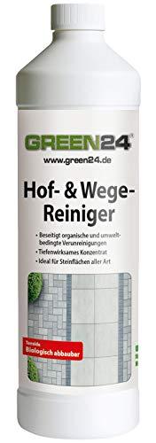 GREEN24 Profi Hof- und Wegereiniger 1 Liter - 200m² - Radikal Reiniger für Steinflächen Aller. Art. Ungefährlich für Haustiere.
