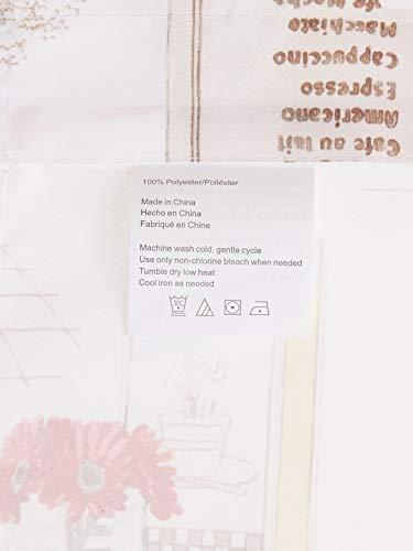 No. 918 51107 Brew Coffee Print Microfiber 3-Piece Kitchen Curtain Set, 54