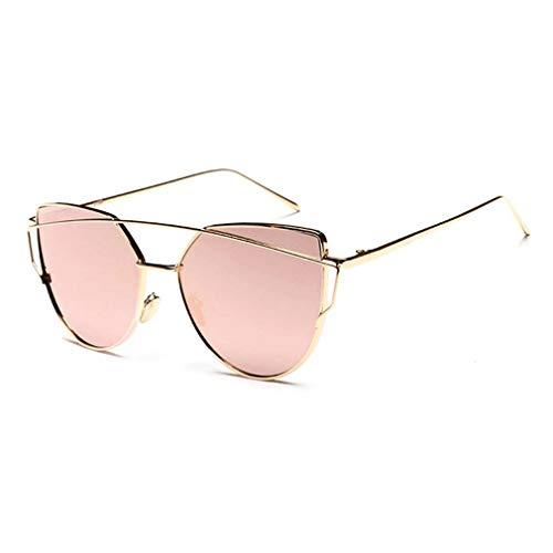 Reflecterende UV-bescherming Zonnebrandlenzen Dames Cateye Zonnebril Metalen frame Ster Charmant Aantrekkelijk Stijlvol (gouden frame roze lens)
