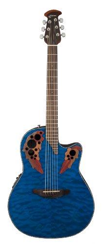 Ovation CE44P-8TQ Acoustic-Electric Guitar, Trans Blue Quilt Maple