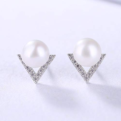 Cestbon Perlen Ohrringe Damen Ohrstecker 925Er Silber Ohrschmuck V-Förmig Süßwasser Zuchtperle 5A Zirkonia Schmuck, Weiß