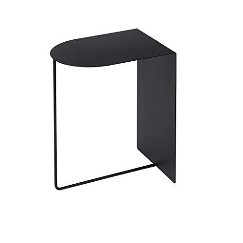 YINGZI Ligero Mesa del Extremo Moderno Tabla de café de la Mesa de Metal Ligero de la Mesa de Metal con Almacenamiento Estante Abierto for Sala de Estar Fácil de Montar (Color : Black)