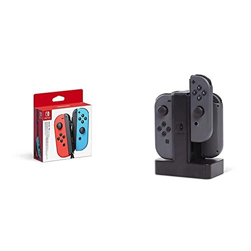 Nintendo Joy-Con 2er-Set Neon-Rot/Neon-Blau + PowerA Joy-Con-Ladestation für Nintendo Switch