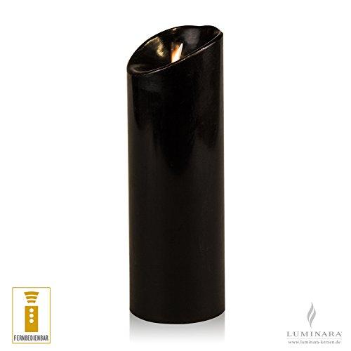 Luminara LED Kerze Echtwachs 8 x 23 cm schwarz fernbedienbar glatt AKTION