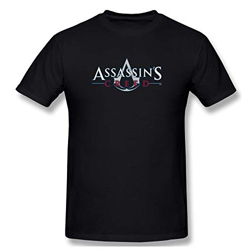 QRE Assassins Creed Text Men's Basic Short Sleeve T-Shirt 3D Print t Shirt Cotton Funny T-Shirt Home Top Tees