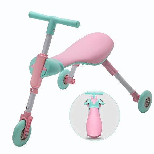 Niños De 1 A 6 Años De Edad Triciclo Walker Scooter Plegable Baby Yo Car Freno Grande Plegable Y Portátil (Color : Pink)