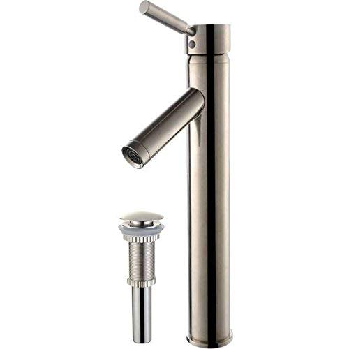 Kraus FVS-1002-PU-10SN Sheven Single Lever Vessel Bathroom Faucet with Matching Pop Up Drain Satin Nickel