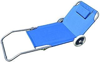 comprar comparacion Beach Art - 1700 - Tumbona con ruedas, plegable en 2 puntos, Azul,150 x 90 x 66 cm