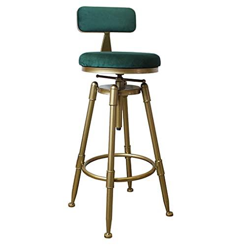 Sgabelli da bar per cucine Sgabello alto girevole Sgabello da bar industriale retrò con schienale in legno massello e metallo Sgabello regolabile in altezza, sgabello in ghisa, sgabello rustico, sedia