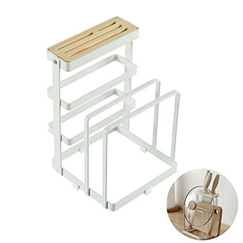 TAMRG Soporte para cuchillos de cocina, estante de cocina para tapa de ollas, tabla de cortar, escurreplatos, soporte multifuncional para cuchillos de metal