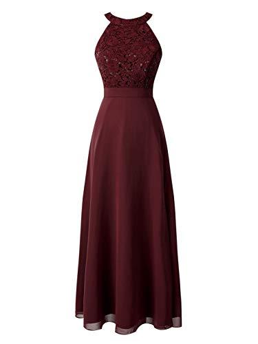 IEFIEL Vestido Largo de Gasa Mujer Vestido de Boda Dama de Honor Chicas Vestido de Fiesta Vestido Elegante Un Hombro Descubierto para Ceremonias Veladas Vino 40