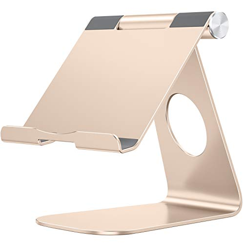 Tablet Stand Holder Adjustable, OMOTON T1 iPad Stand, Desktop Aluminum Tablet Dock Cradle Compatible with iPad Air 4/Mini, New iPad 10.2/9.7, iPad Pro 11/12.9, Samsung, Nintendo and More, Gold