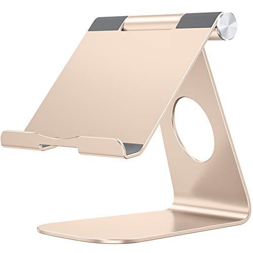 omoton escritorio Tablet soporte, multi-ángulo de soporte para base de carga de aluminio con Sticky ventosa Base, Fit para todos los Smartphones, e-readers y Tablets (hasta 12.9inch)