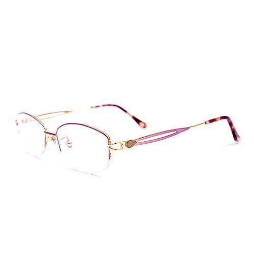 CAOXN Gafas De Lectura De Titanio Puro Anti-Luz Azul Radiación Fatiga Lente De Resina De Alta Definición Presbicia Hipermetropía Gafas Ópticas,Rosado,+1.00