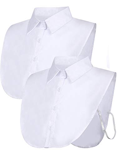 Tatuo 2 Pieces Fake Collar Detachable Blouse Dickey Collar Half Shirts False Collar for Women Favors (Large, White)